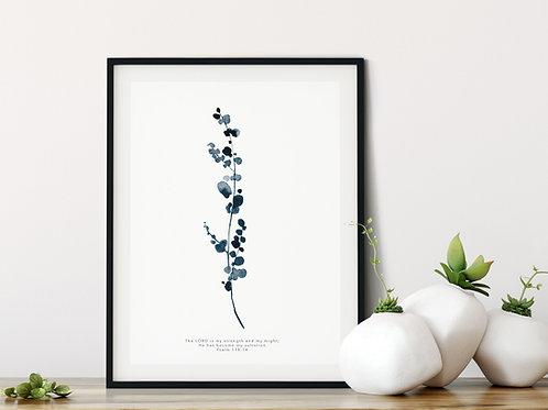 Eucalyptus Botanical Indigo Blue (2) Print - Psalm 118:14
