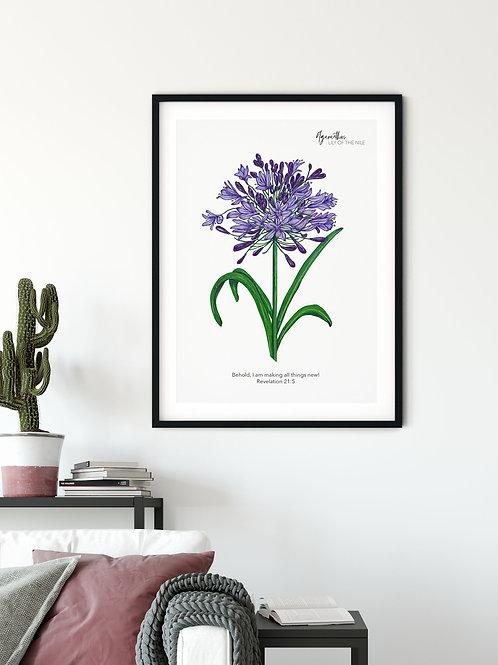 Lily Of The Nile Vintage Floral Print - Revelation 21:5