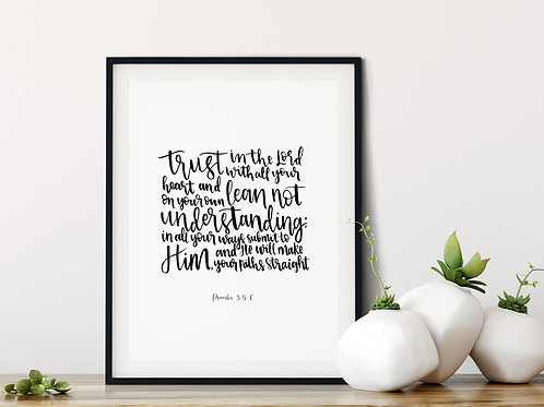 Trust In the Lord With All You Heart Print - Proverbs 3:5-6