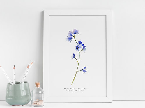 Forget Me Not Botanical Print - 1 Thessalonians 5:17