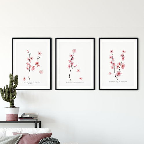 Cherry Blossom Botanical Print Set