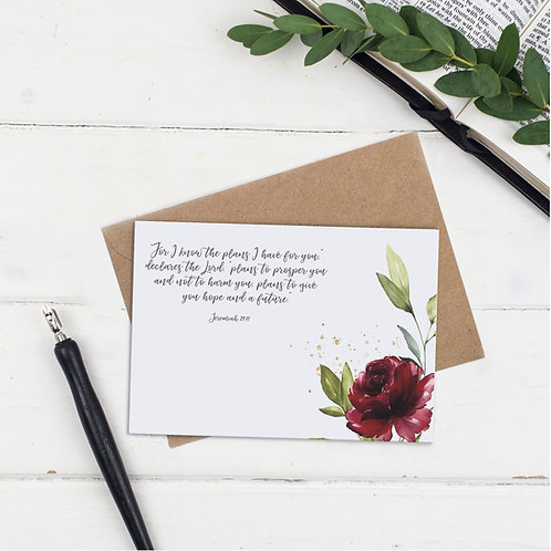 For I Know The Plans Floral Greeting Card - Jeremiah 29:11