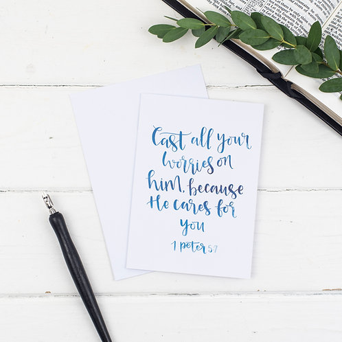Cast All Your Worries On Him Card - 1 Peter 5:7