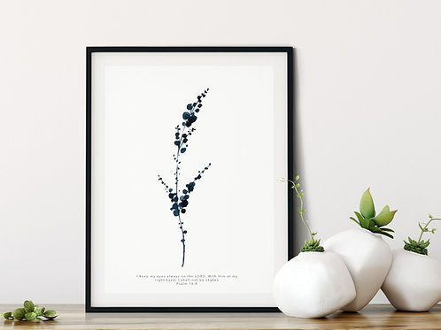 Eucalyptus Botanical Indigo Blue Print - Psalm 16:8