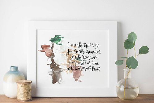 I Am The Vine You Are The Branches Abstract Print - John 15:5