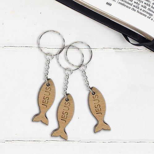 Jesus Wooden Key Ring - Matthew 4:19