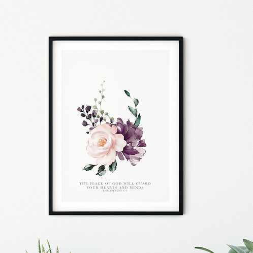 The Peace Of God Pink Floral Print - Philippians 4:7