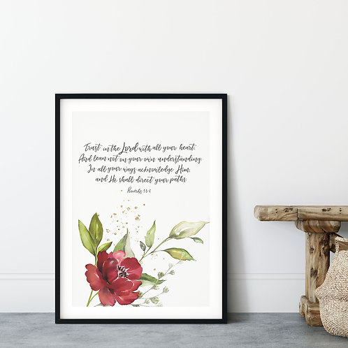 Trust In The Lord With All Your Heart Floral Watercolour Print - Proverbs 3:5-6