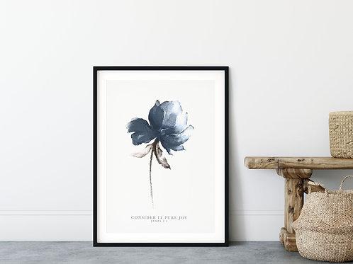 Consider It Pure Joy Blue Floral Print - James 2:1