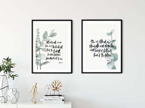 Blessed Is She Botanical Print Set