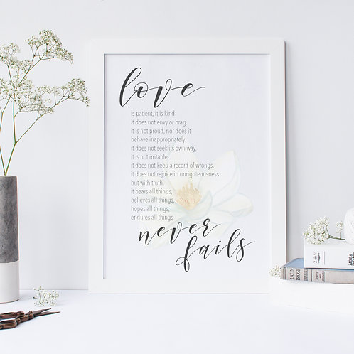 Love Never Fails Floral Print - 1 Cor 13:4-8