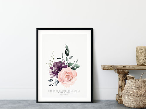The Lord Blesses His People With Peace Pink Floral Print -  Psalm 29:11