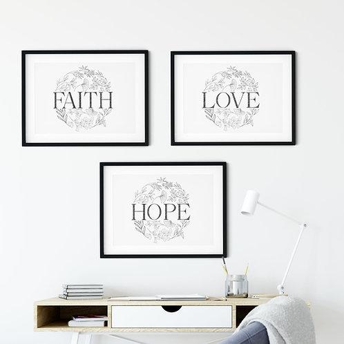 Faith, Hope, Love Floral Monochrome Print Set