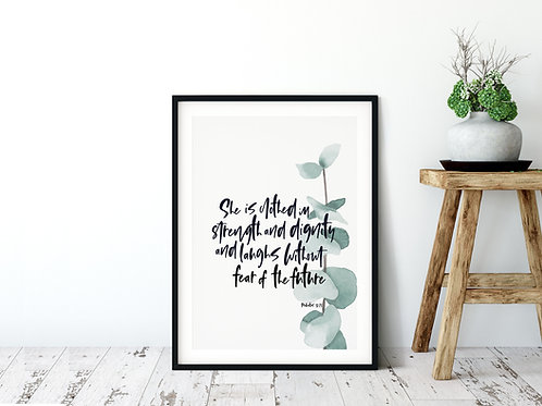 She Is Clothed In Strength And Dignity Botanical Print - Proverbs 31:25