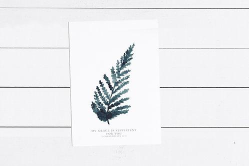 Blue Fern Print - 2 Corinthians 12:9