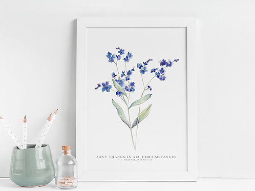 Forget Me Not 'Give Thanks' Botanical Print - 1 Thessalonians 5:18