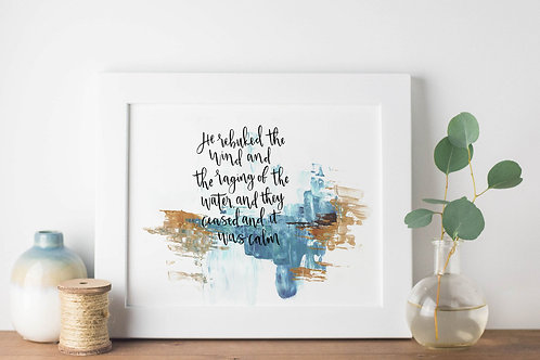 He Rebuked The Wind And It Was Calm Abstract Print - Mark 4:39
