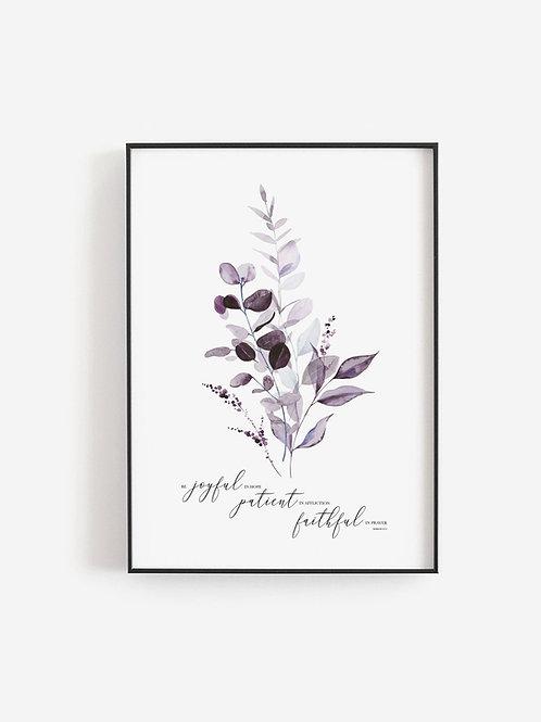 Be Joyful In Hope Purple Botanical Watercolour Print - Romans 12:12