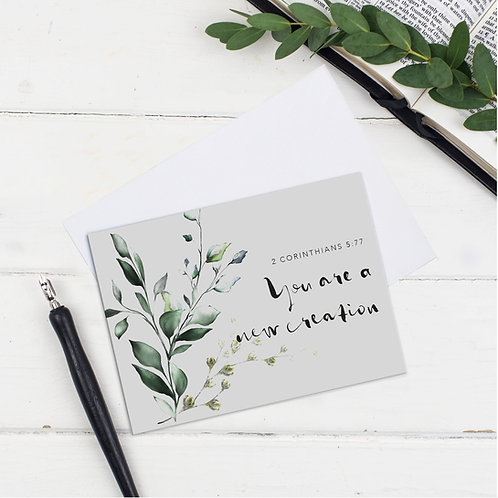 You Are A New Creation Grey Floral Greeting Card - James1:2