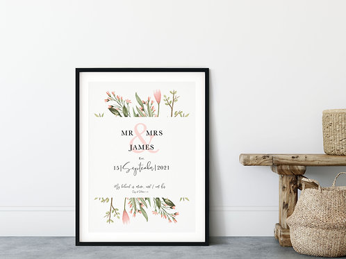Personalised Floral Wedding Print - Song of Solomon 2:16