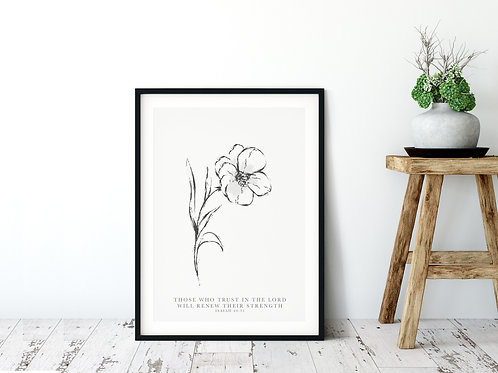 Those Who Trust In the Lord Floral Line Drawing Print - Isaiah 40:31