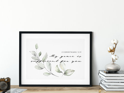 My Grace Is Sufficient Botanical Watercolour Print - 2 Corinthians 12:9