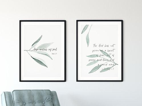 Hope Botanical  Print  Set Of Two
