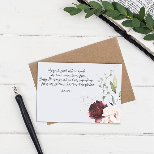 My Soul Find Rest In God Floral Greeting Card - Psalm 62:5-6