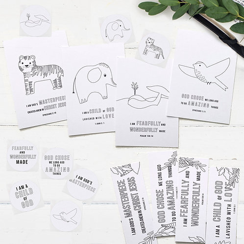 Fearfully And Wonderfully Made Colour-In Stationery Set
