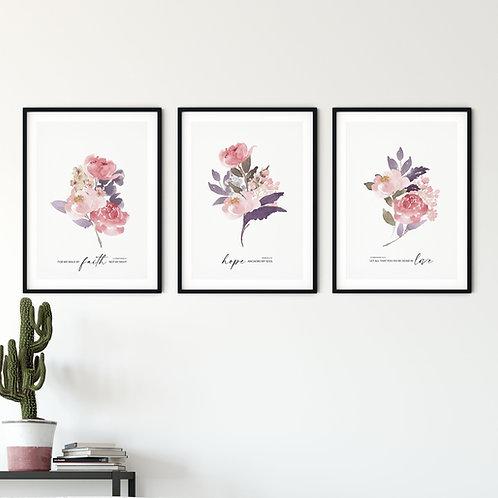 Peony Floral Faith Print Set