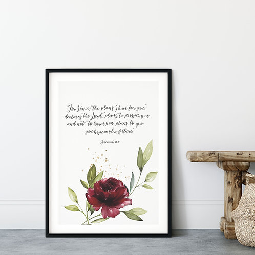 For I Know The Plans I Have For You Floral Watercolour Print - Jeremiah 29:11
