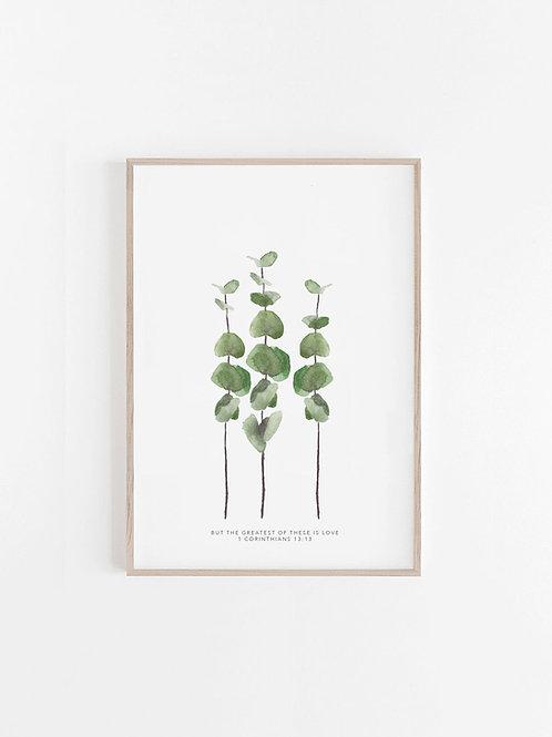 Baby Blue Eucalyptus (3) Print -1 Corinthians13:13