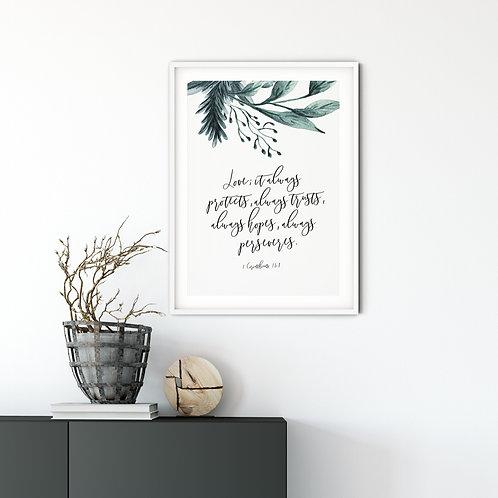 Love Always Protects Botanical Print - 1 Corinthians13:7