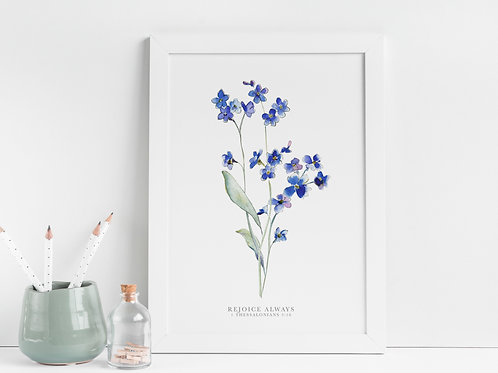 Forget Me Not ' Rejoice Always' Botanical Print - 1 Thessalonians 5:16