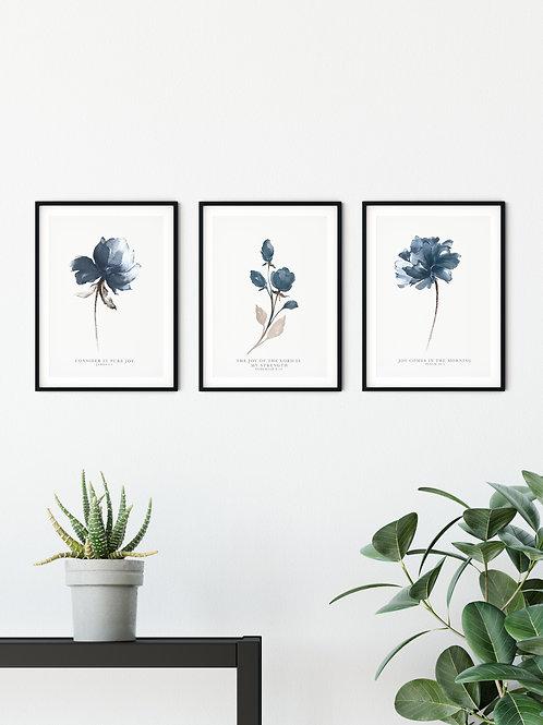 Joy Blue Floral Print Set