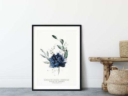 Saved By Grace Through Faith In Christ Blue Floral Print - Ephesians 2:8