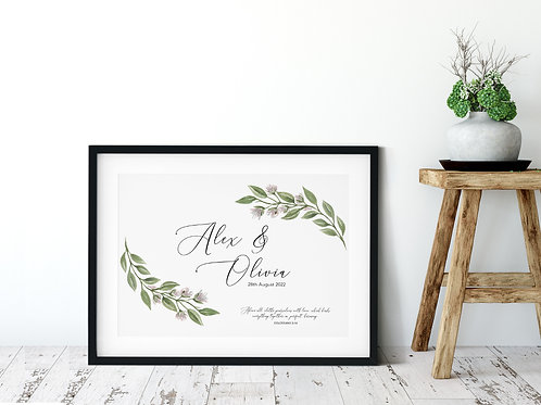 Personalised Floral Wedding Print - Colossians 3:14