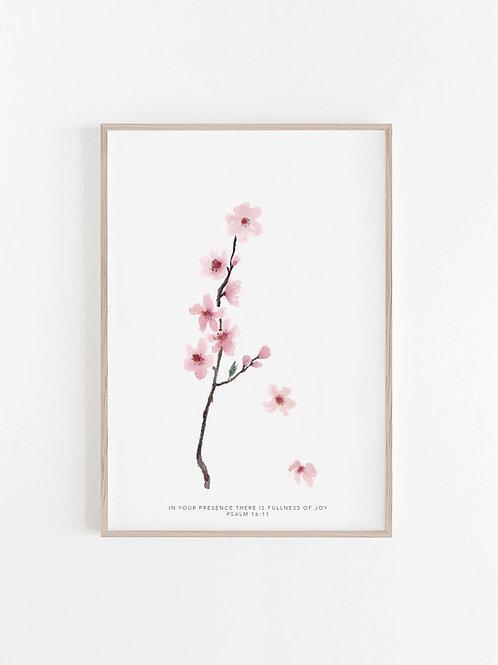 Cherry Blossom Print - Psalm 16:11