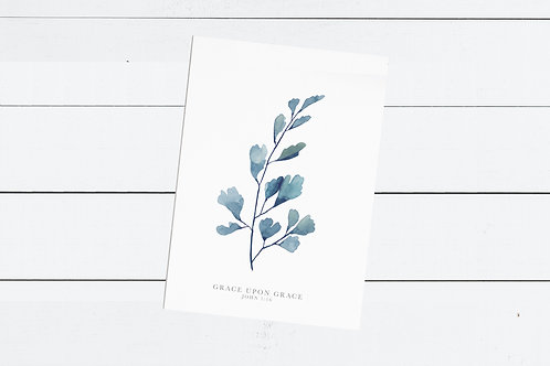 Blue Maidenhead Fern Print - John 1:16