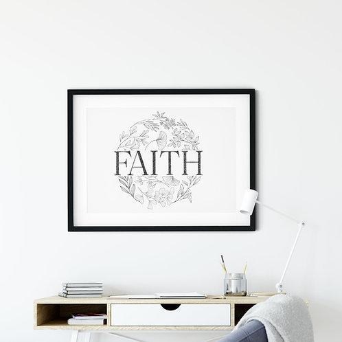 Faith Floral Print - 2 Corinthians 5:7