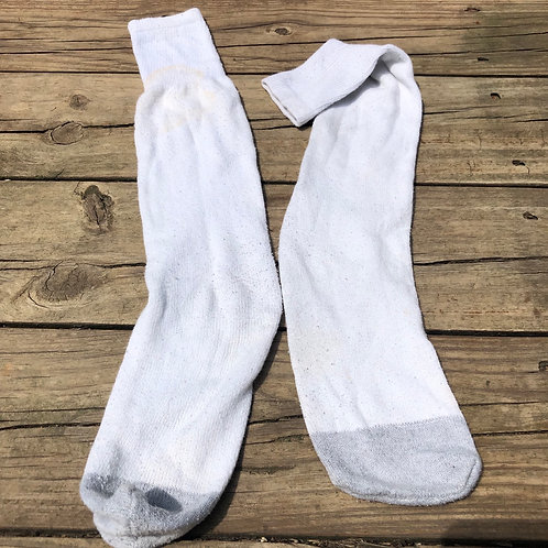 Long White/Gray Crew Socks
