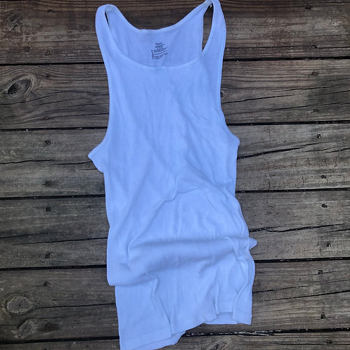 """Hanes Black Label """"Wife Beater"""" A-Frame White"""