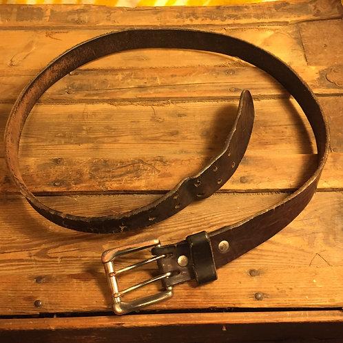 Black Mens Leather Belt - Multihole x8