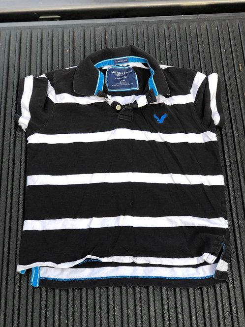Black/White Striped AE Polo Shirt