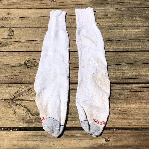Hanes Long White/Gray Crew Socks