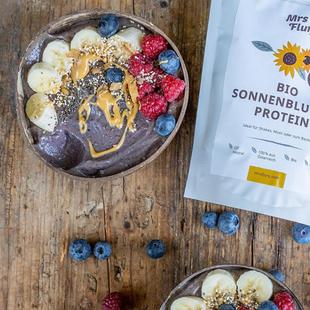 Mrs Flury – Packaging Design für Bio Sonnenblumen Protein  Pulver
