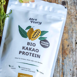 Mrs Flury – Packaging Design für Bio Kakao Protein Pulver
