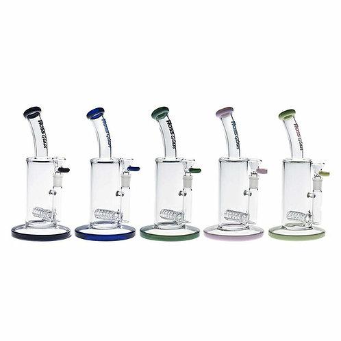 """Hoss Glass 9"""" Tube Grid Perc Bubbler w/ Colour Accents"""