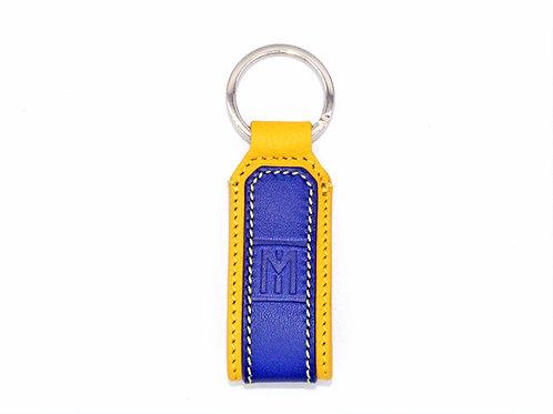 Portachiave in pelle giallo/blu