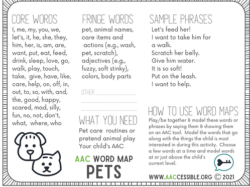 AAC Word Map- Pets